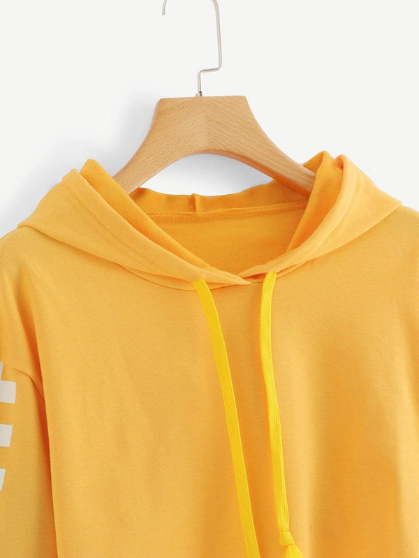 Yellow Contrast Checkered Crop Hoodie Sweater - My Bikini Flex