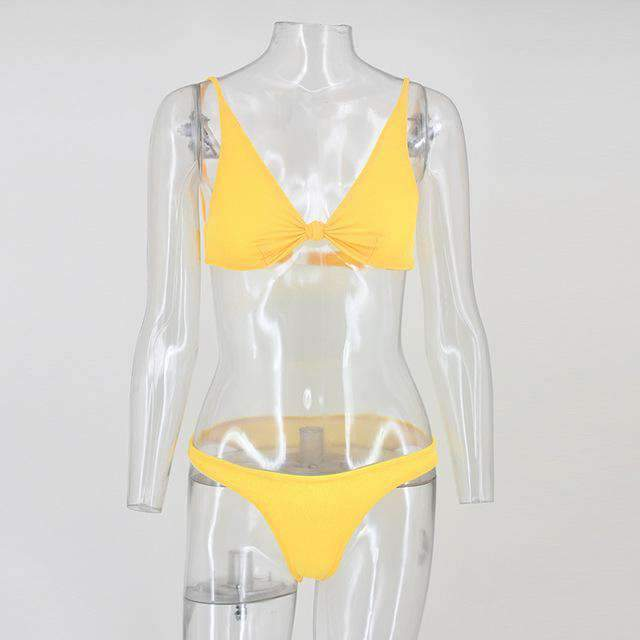 Yellow Knot Cami Top Deep V Two Piece Swimsuits Bikini - My Bikini Flex