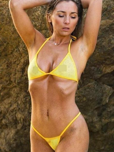 Yellow Mesh See Through Halter Top Swimsuit G String Bikini Bottom - My Bikini Flex
