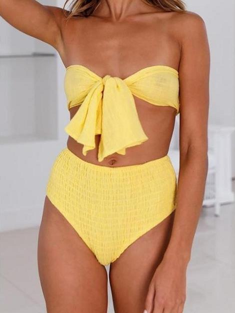 Yellow Swimsuit Bandeau Bow Knot Two Piece Bikini - My Bikini Flex