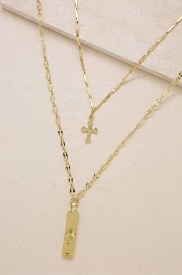 Your Highness Gold Cross Necklace Set - My Bikini Flex