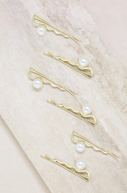 Zig Zag Pearl and Gold Hair Pin Set of 6 - My Bikini Flex