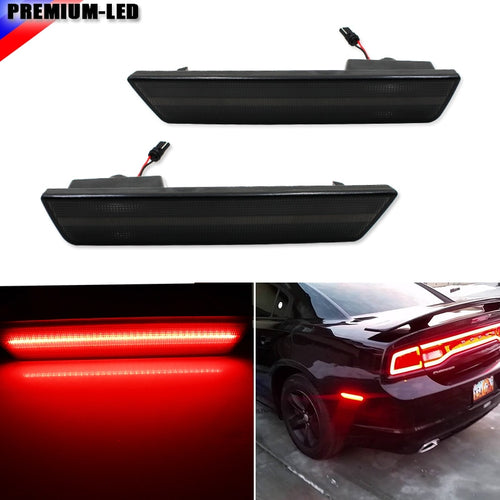 (2) Smoked Lens Rear Side Marker Lamps with 36-SMD Red LED Lights For 2008-2014 Dodge Challenger, 2011-2014 Dodge Charger - BtecRacing
