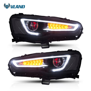 Vland Car Styling Head Lamp For Mitsubishi Lancer Headlight 2008-2017 Led Headlights With Demon Eyes - BtecRacing