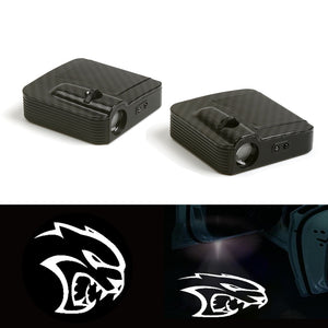 2pcs Car Door Welcome Light Projector Logo For Dodge Charger Hellcat logo - BtecRacing