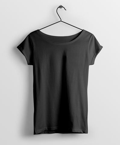 Black Round Neck Women T-Shirt - Almytees