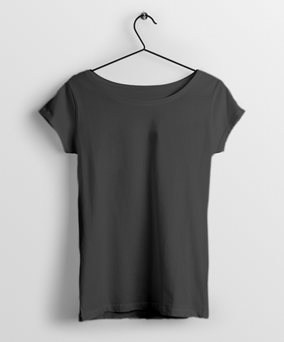 Charcoal Grey Round Neck Women T-Shirt - Almytees