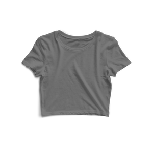 Solid Melange Grey Crop Top - Almytees