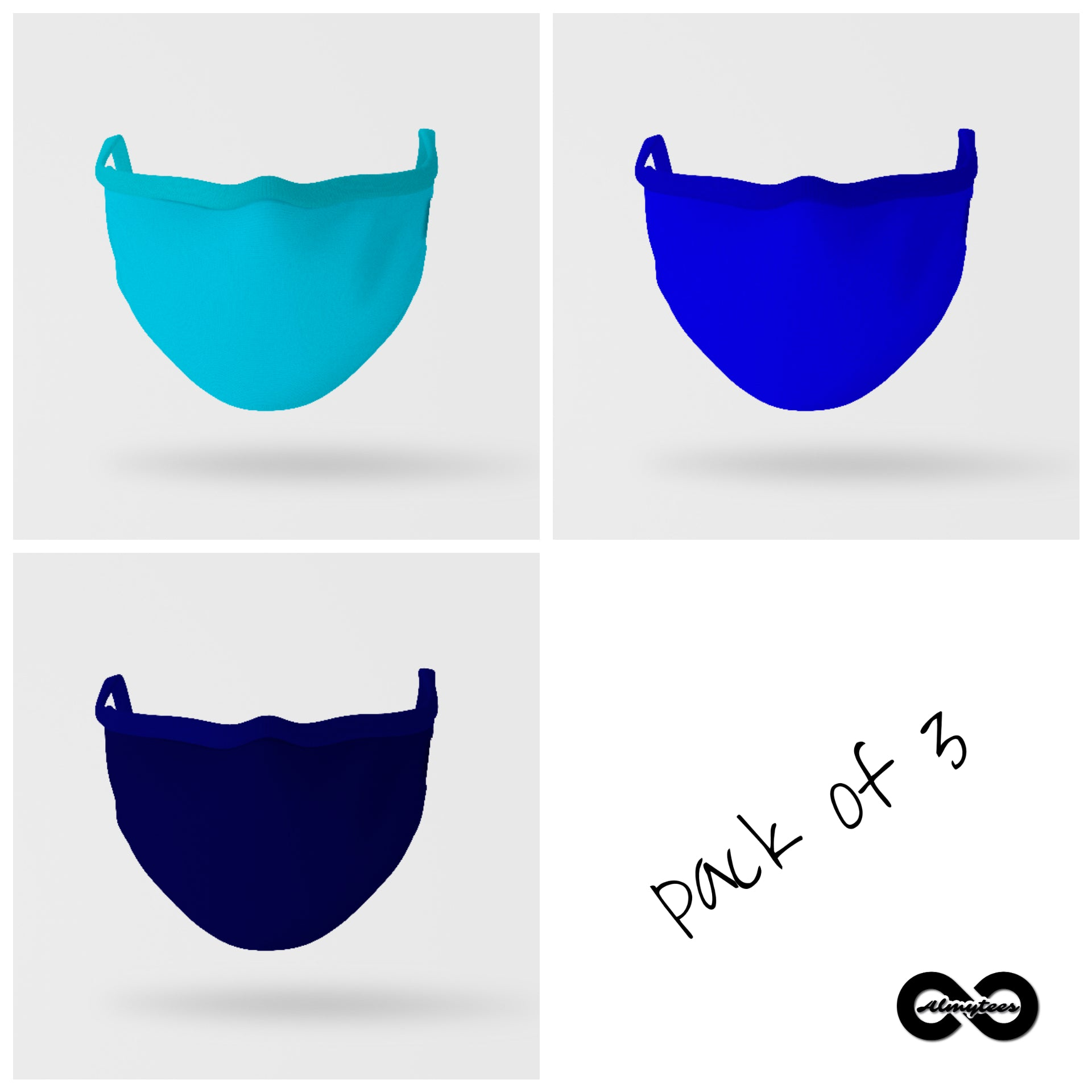 Essential Mask : Pack Of Three (Shades of Blue)