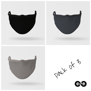 Essential Mask : Pack Of Three (Shades of Grey)