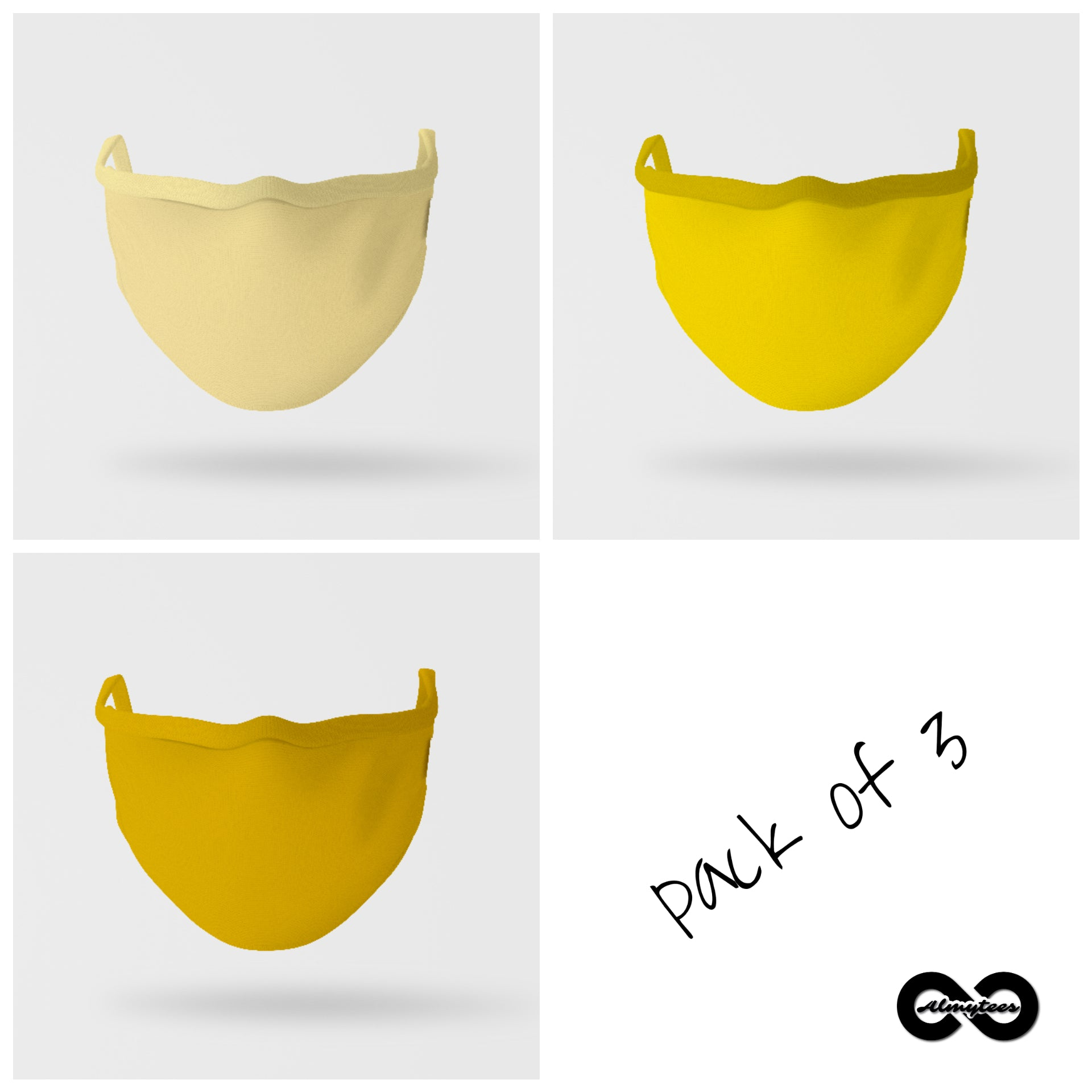 Essential Mask: Pack of Three (Shades Of Yellow)