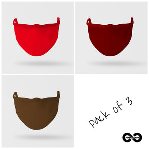 Essential Mask: Pack of Three (Shades Of Red)