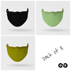 Essential Mask: Pack Of Three (Shades of Green)