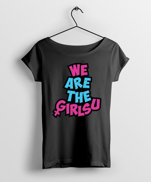 We Are The Girlsu Women Round Neck T-Shirt Black - Almytees