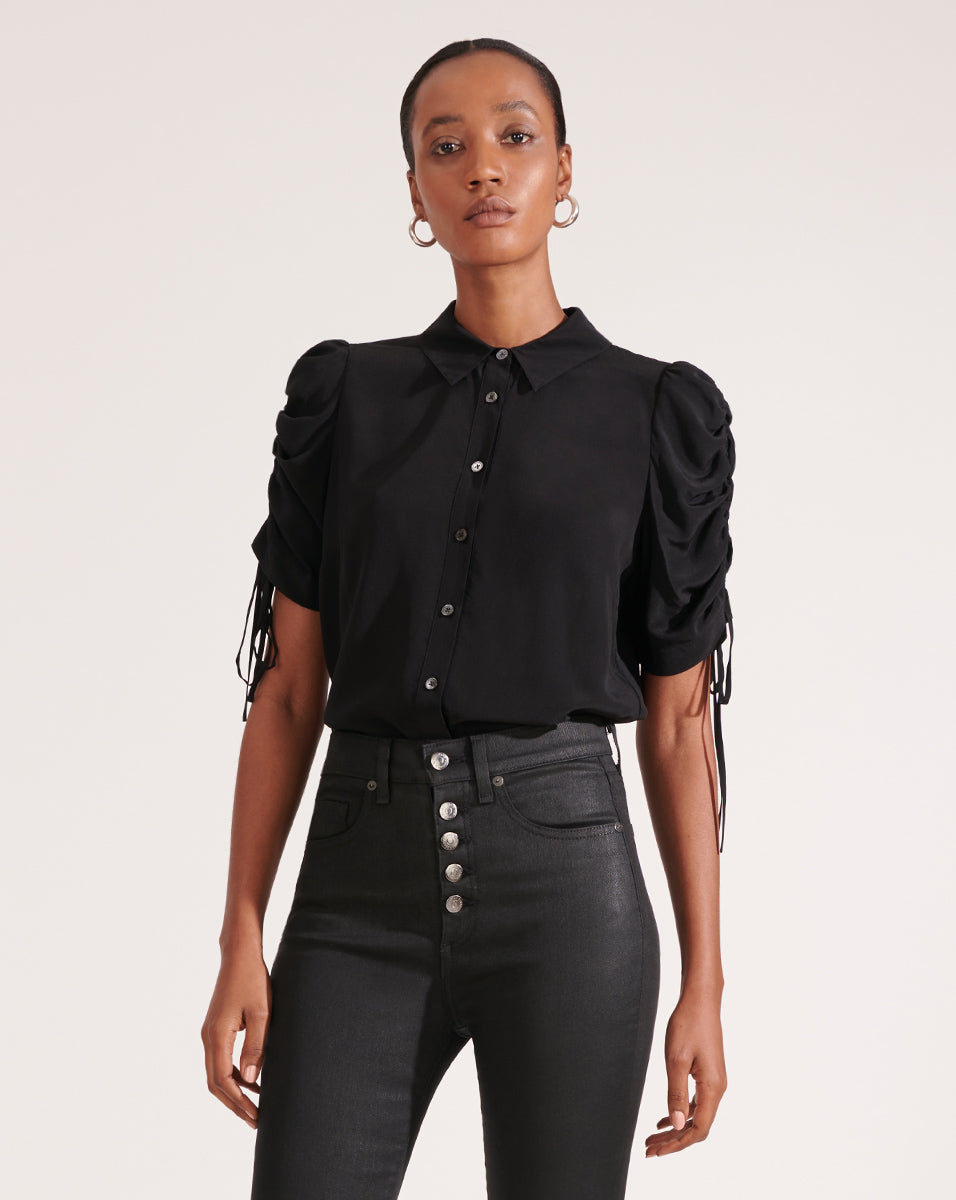 Carmine Ruched-Sleeve Blouse