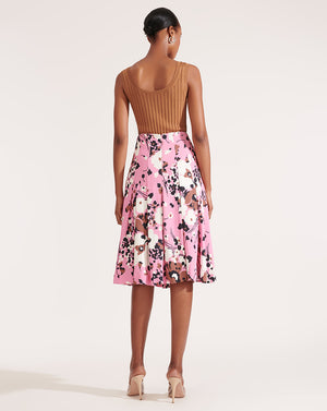 Sania Pleated Skirt - Pink Multi
