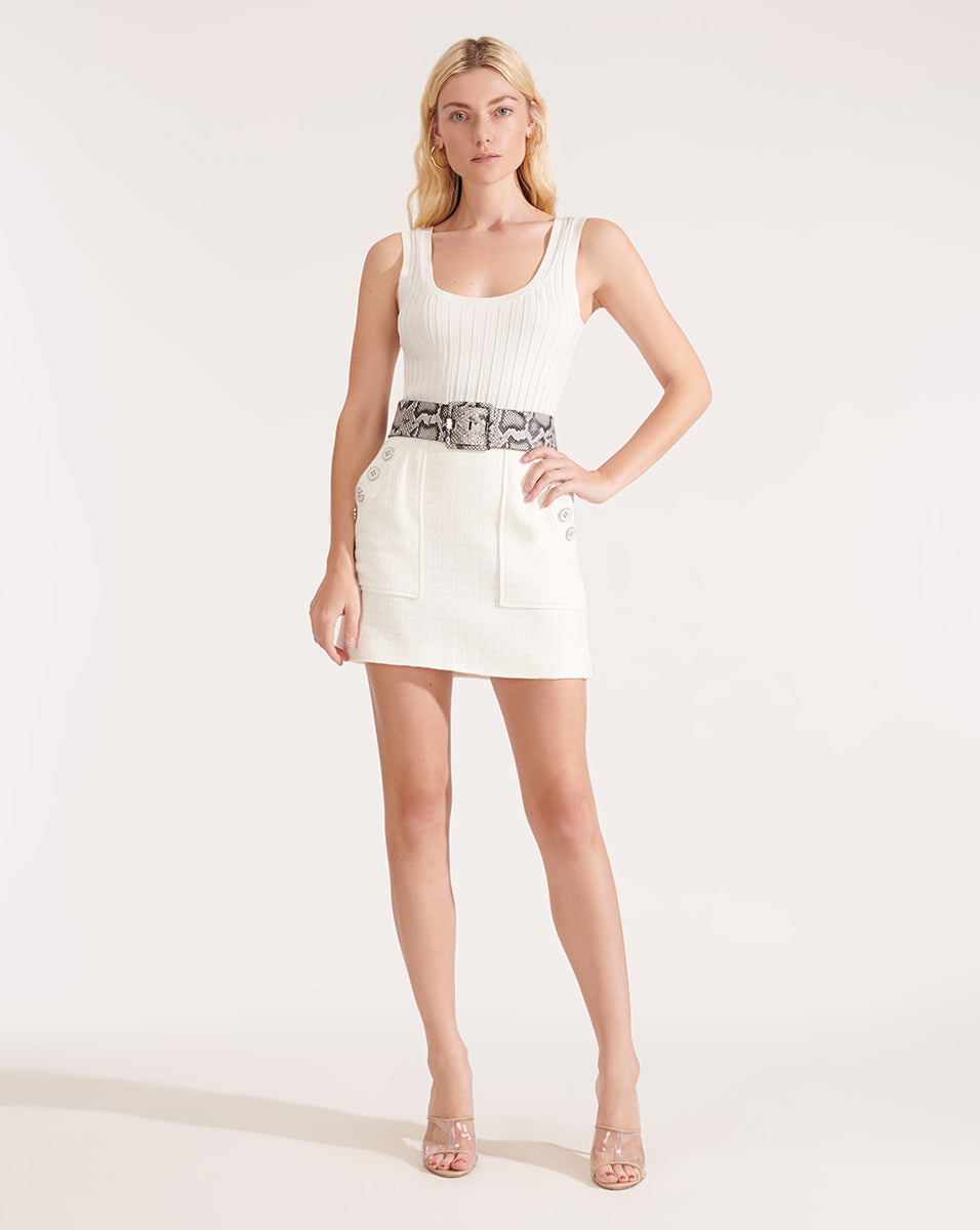 Bond Soft-Tweed Miniskirt - Ivory