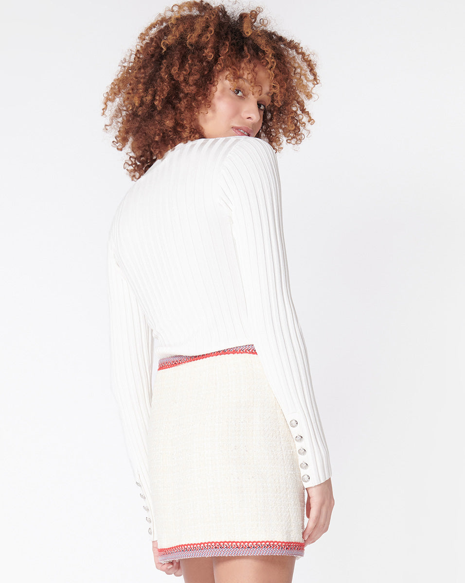 West V Neck Pullover - Off-White