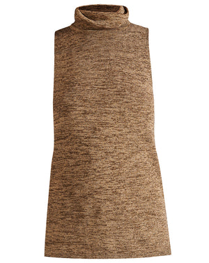 Esther Sleeveless Turtleneck - Black/gold