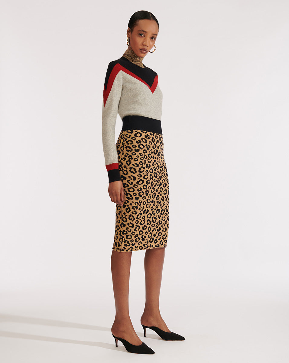Bethel Pencil Skirt - Beige Multi