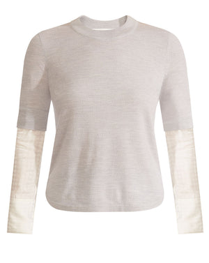 Roscoe Mixed Media Sweater - Grey Melange