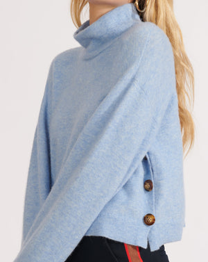 Cady Mock-Neck Pullover - Blue
