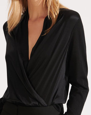 Ingrid Mixed-Media Top - Black