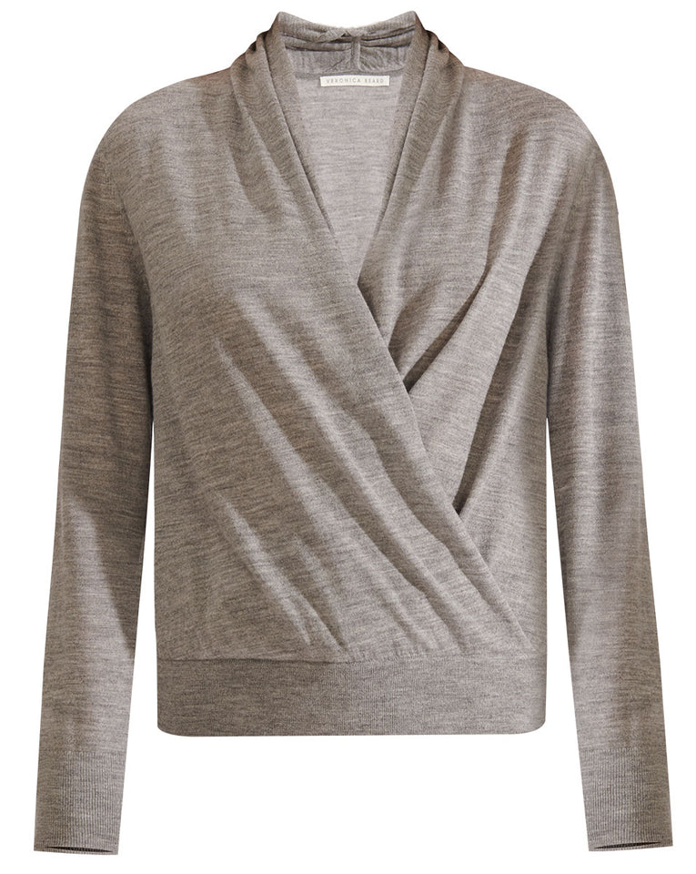 Ingrid Mixed Media Top - Grey Melange