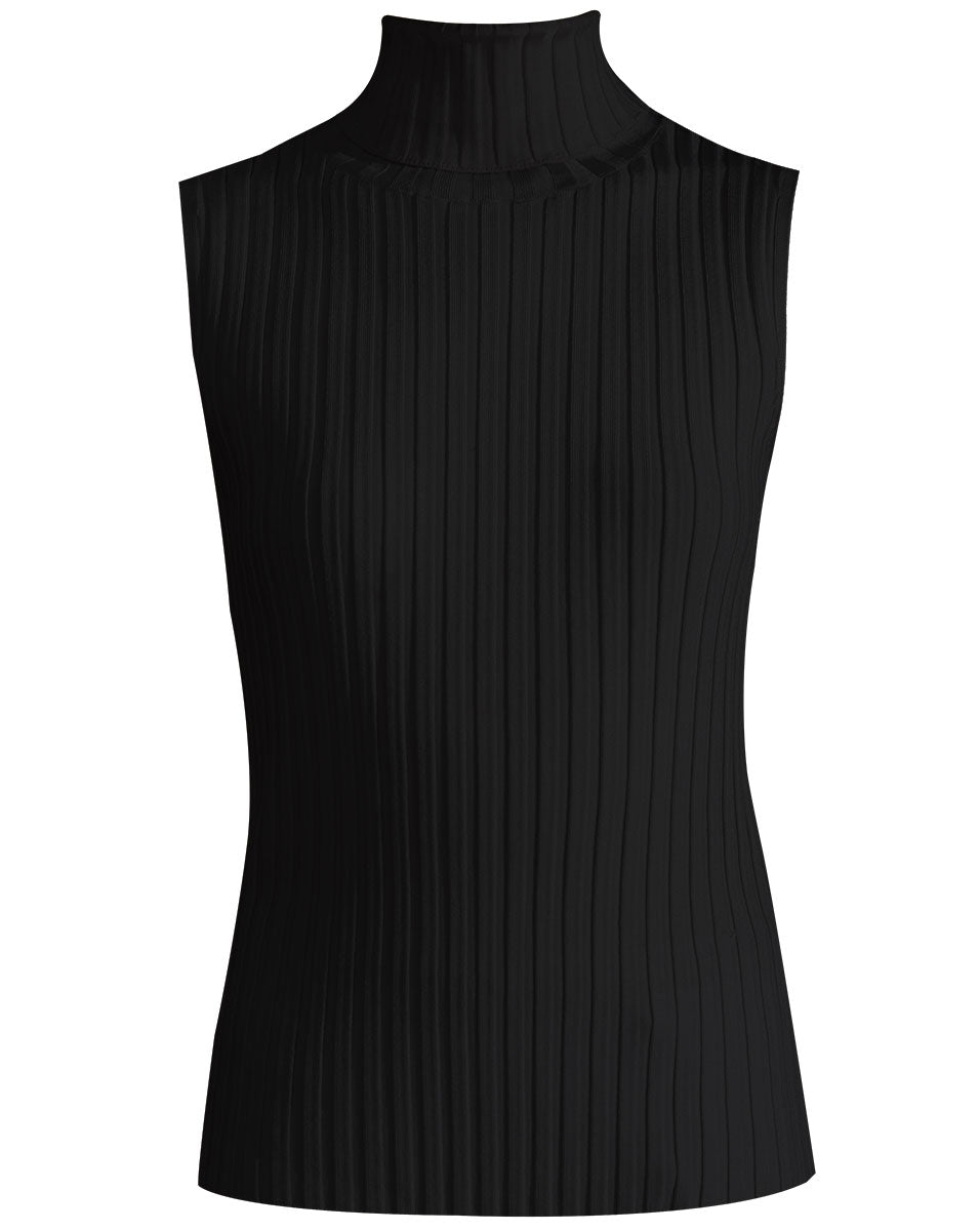 Stefania Sleeveless Turtleneck - Black