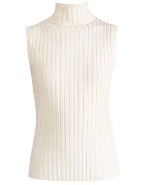 Stefania Sleeveless Turtleneck - Off White