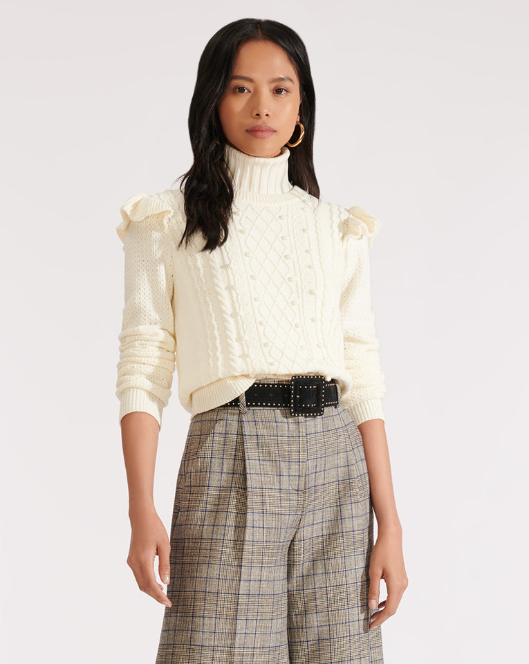 Earl Crew Neck Cable Sweater - Ivory