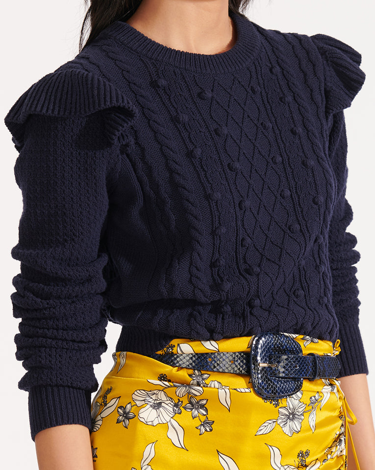 Earl Crew Neck Cable Sweater - Navy