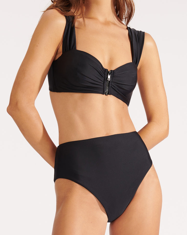 Lanikai High-Rise Bikini Bottom - Black
