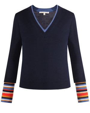 Avory V-Neck Sweater - Navy