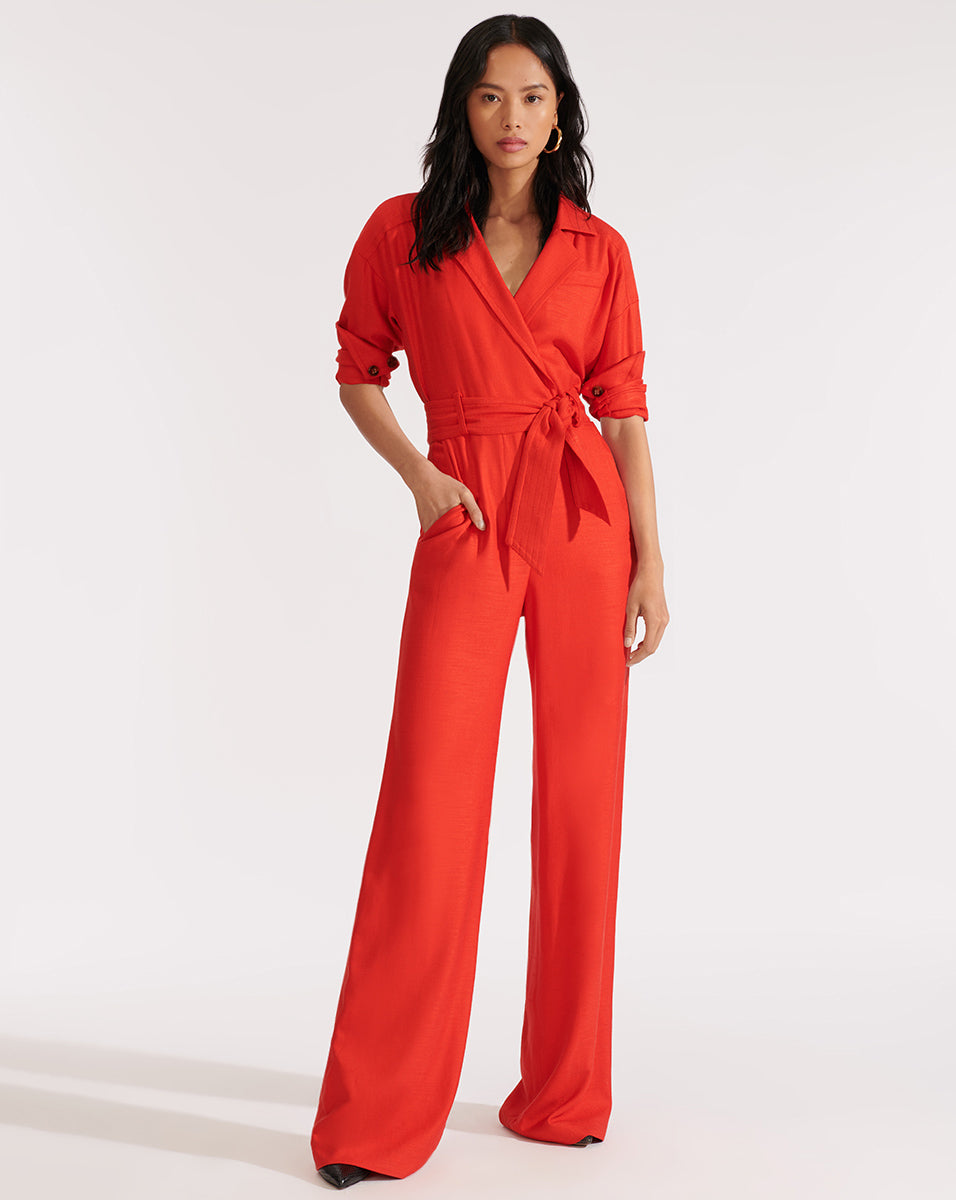 Lionel Belted Jumpsuit - Red
