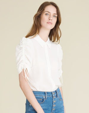Carmine Ruched-Sleeve Blouse - Ivory