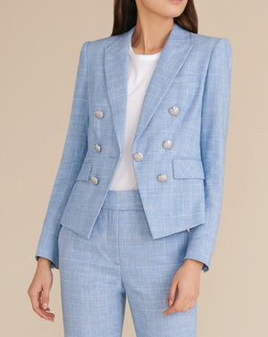 Diego Heathered Plaid Dickey Jacket - Blue