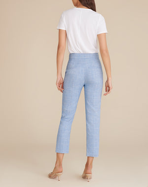 Renzo Heathered Plaid Pant - Blue