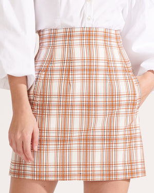 Roman Plaid Miniskirt - White Multi