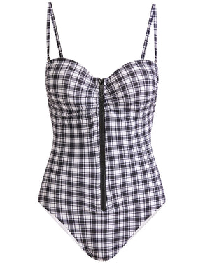 Mari Zip-Up Swimsuit - Black White