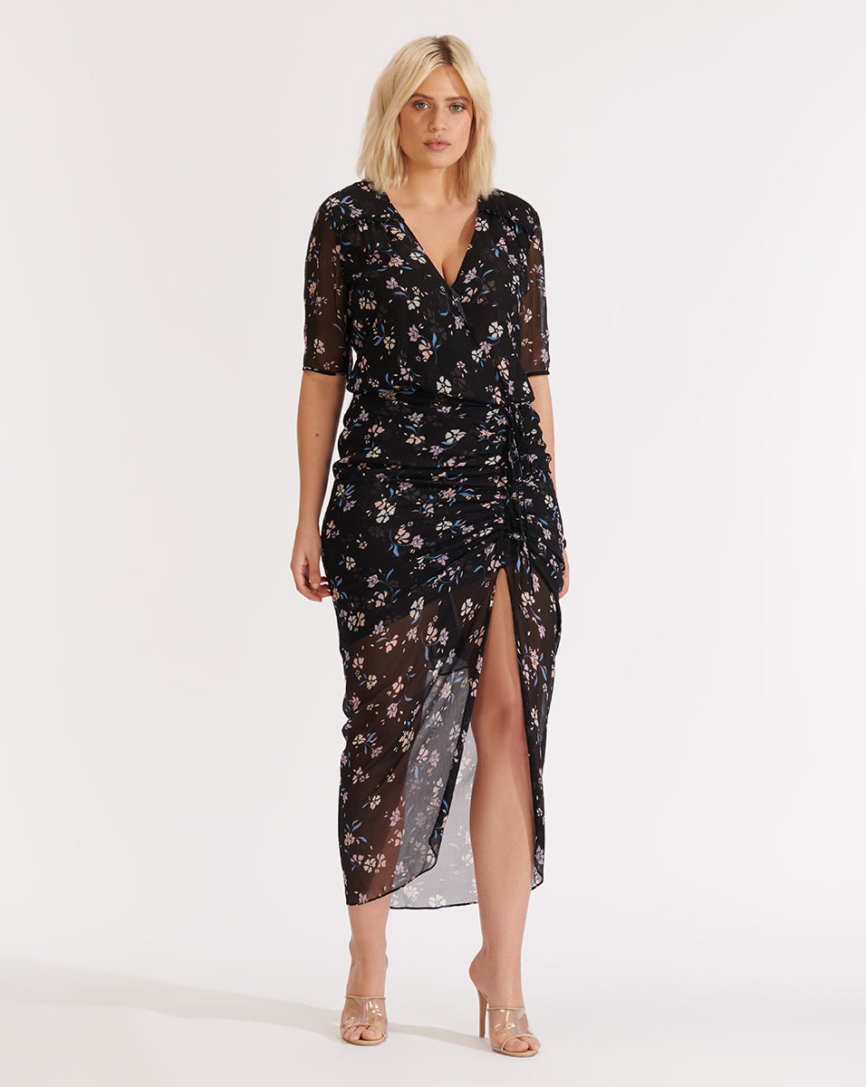 Mariposa Windswept-Floral Dress - Black Multi