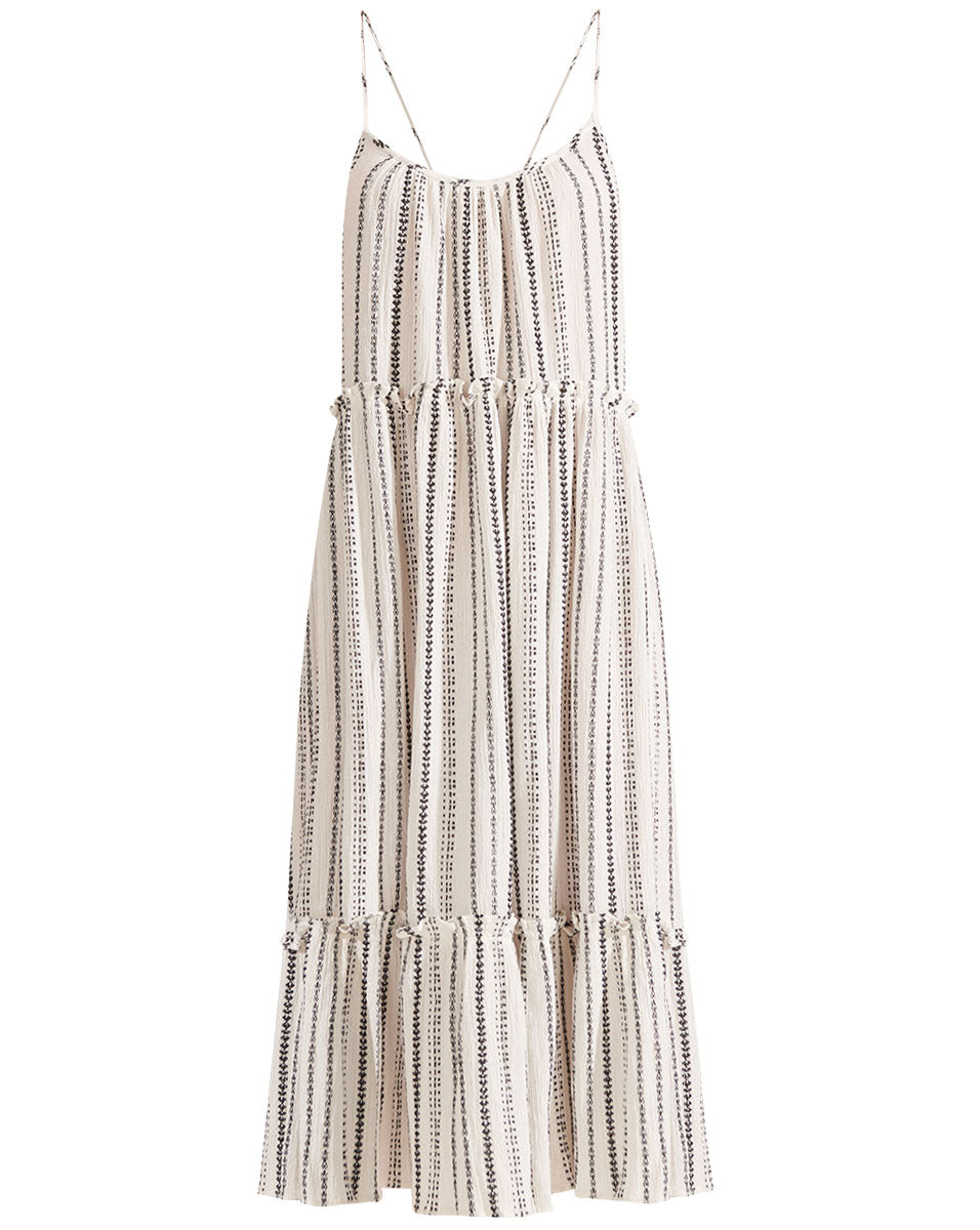 Ayesha Embroidered Striped Dress - White/black