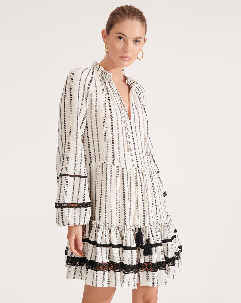 Danica Embroidered Striped Dress - White/black