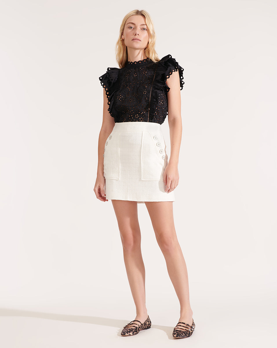 Calisata Ruffled Eyelet Top - Black