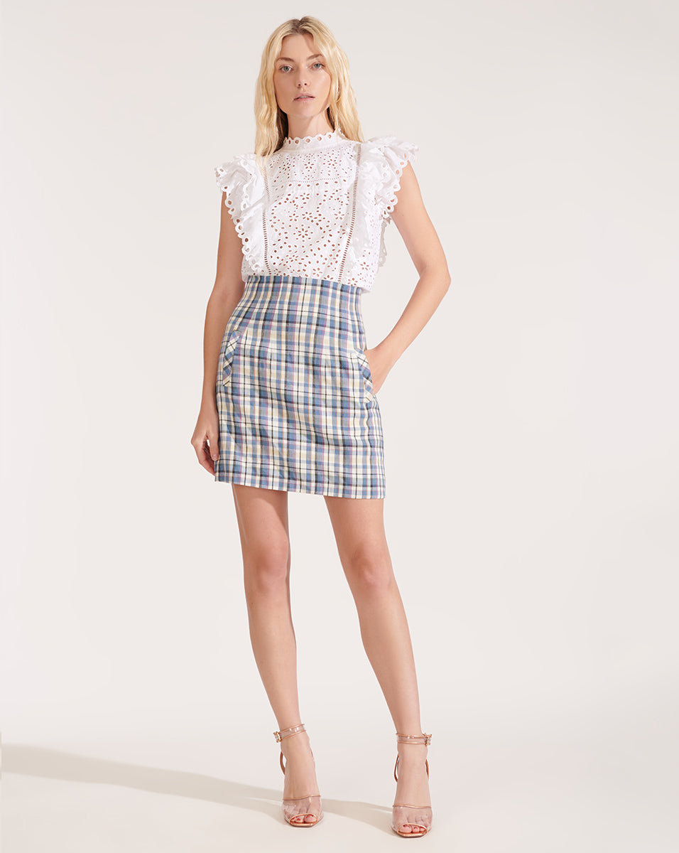 Calisata Ruffled Eyelet Top - White