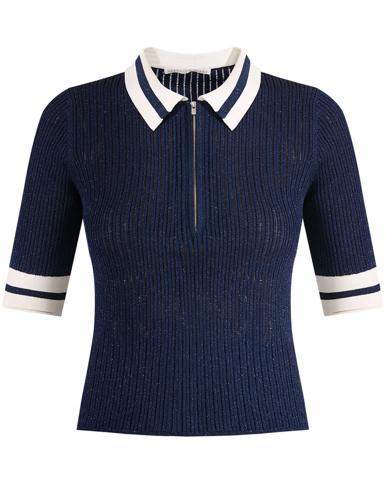 Jorja Half-Zip Polo - Navy