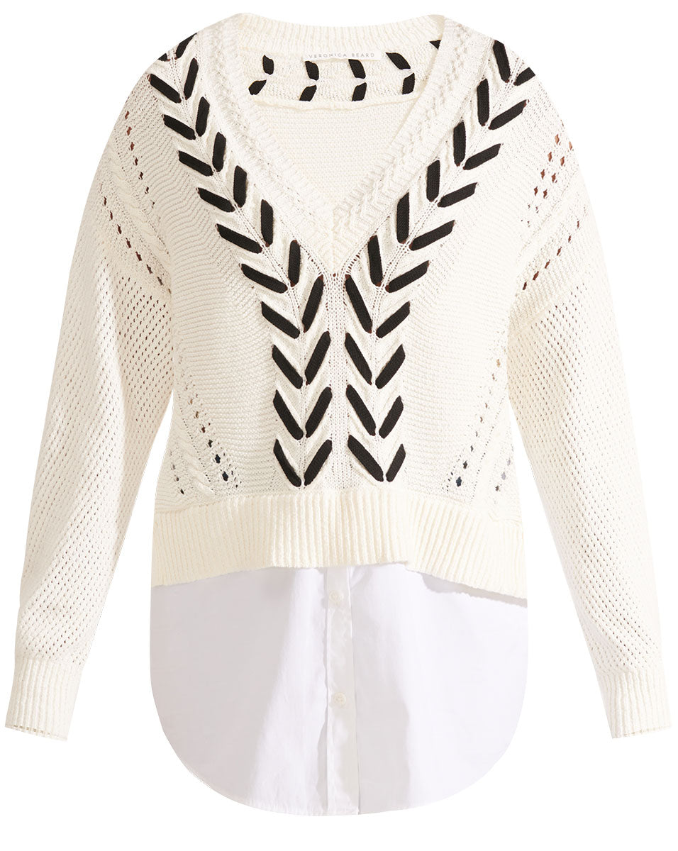 Edwin Mixed Media Sweater - Ivory