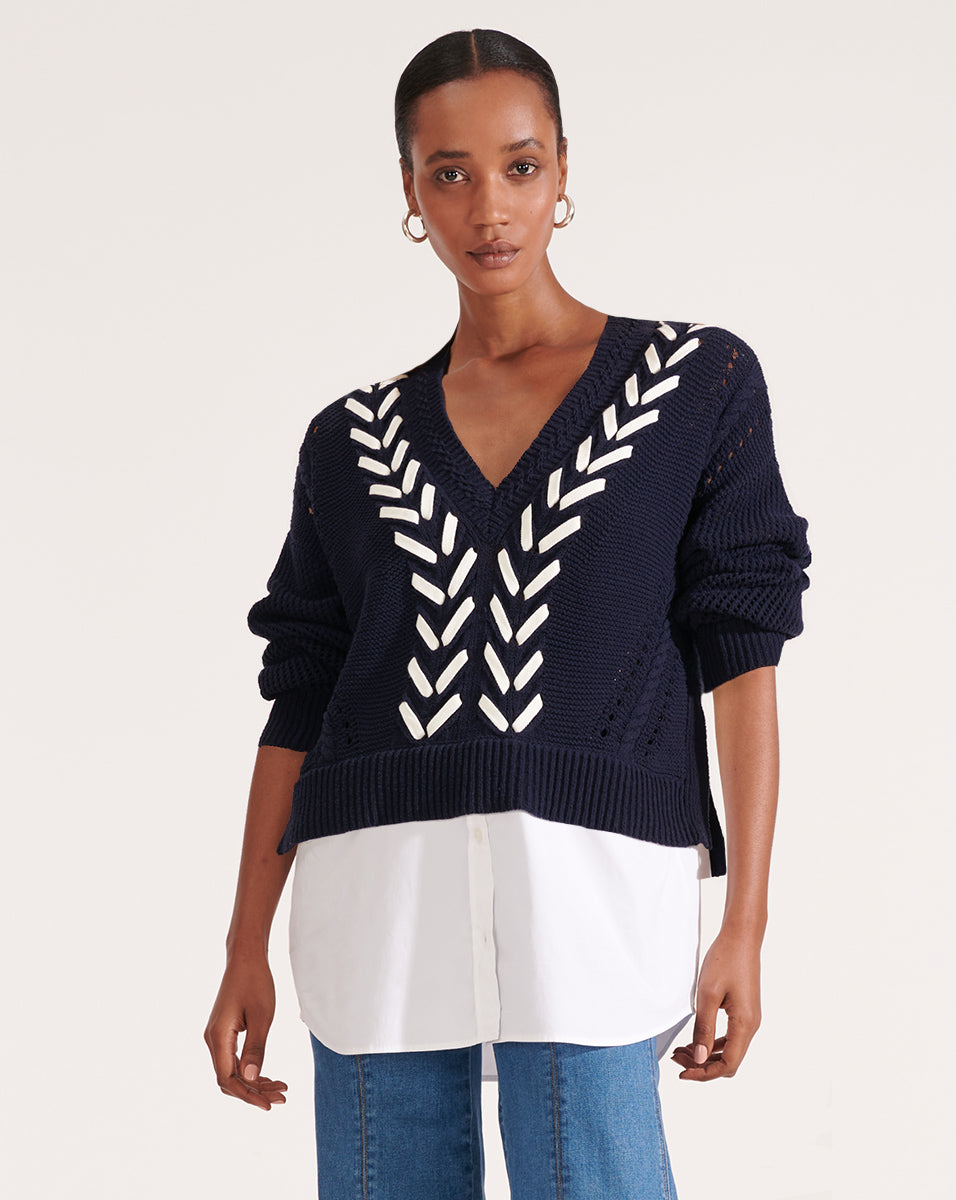 Edwin Mixed Media Sweater - Navy