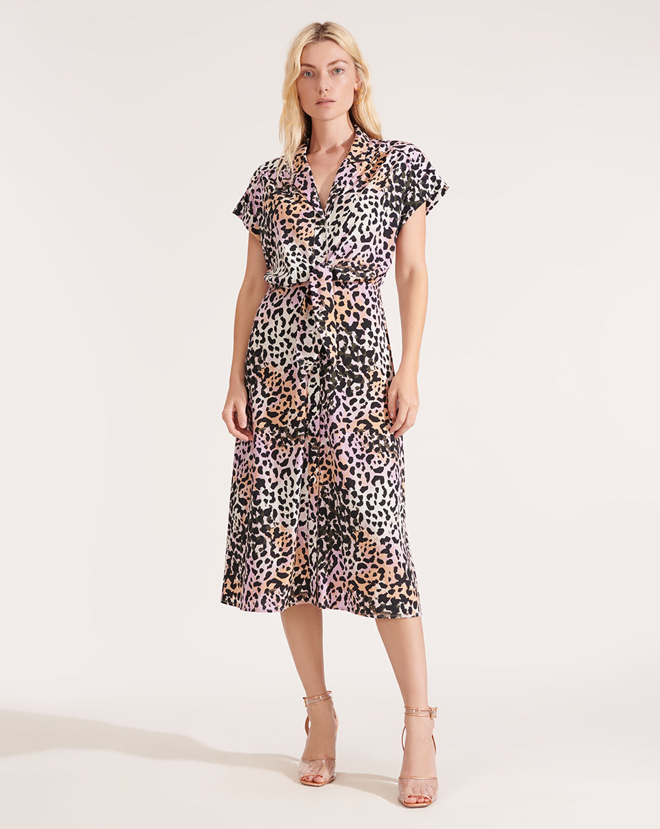Amani Watercolor Leopard Dress