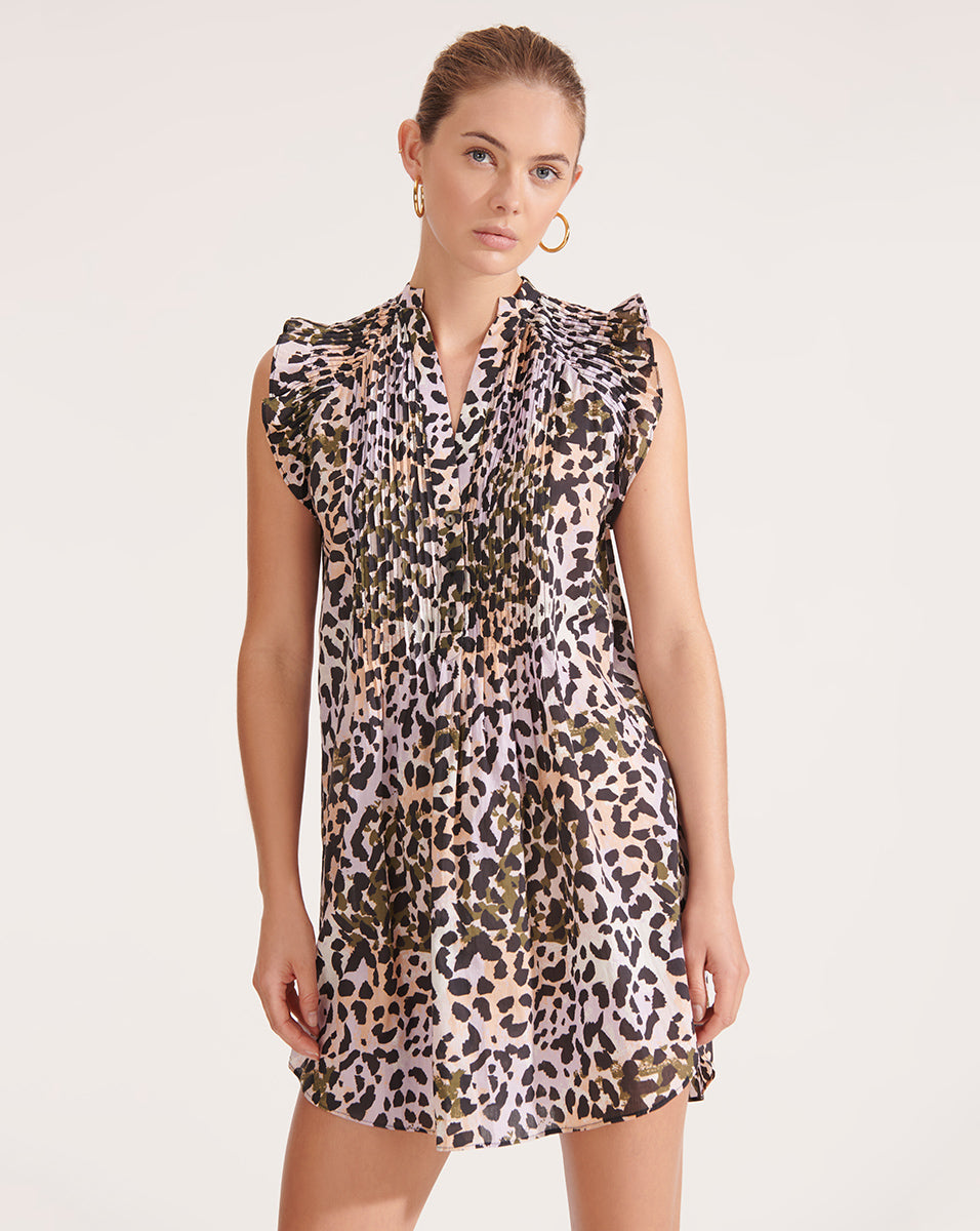 Marieta Watercolor Leopard Dress - Lilac Multi